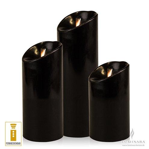 luminara led kerzen 3er set schwarz d 8cm glatt mit fernbedienung kaufen. Black Bedroom Furniture Sets. Home Design Ideas