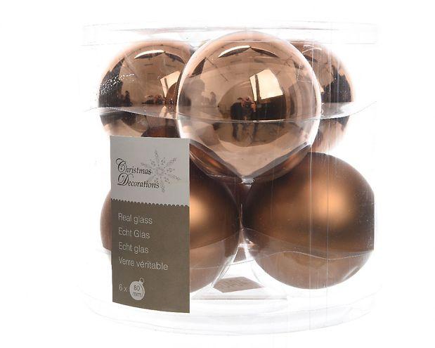 Kaemingk weihnachtskugel 8cm glas glanz matt 6 st ck braun for Tegee glas schaum glanz