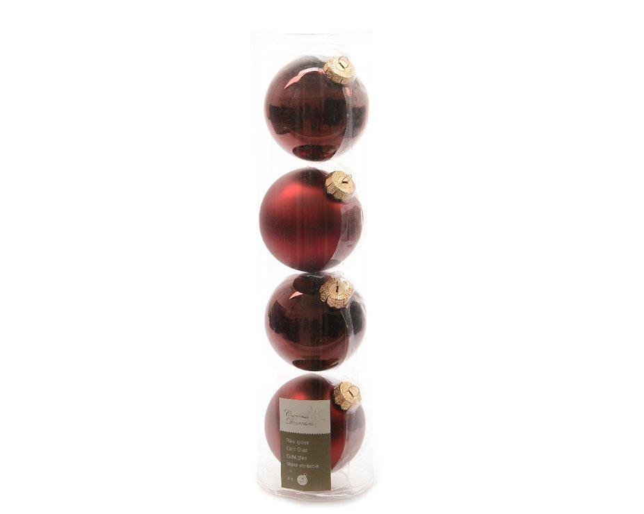 kaemingk weihnachtskugel 10cm glas glanz matt 4 st ck dunkelrot kaufen. Black Bedroom Furniture Sets. Home Design Ideas