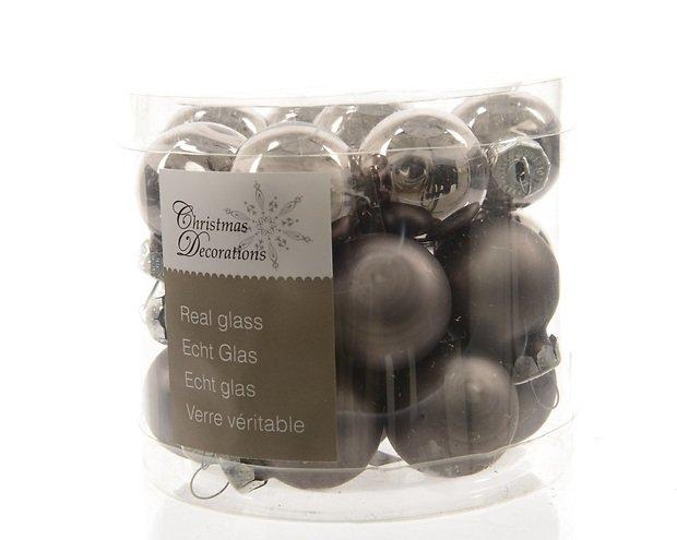 kaemingk weihnachtskugeln mini 2 5cm glas glanz matt 24 st ck grau kaufen. Black Bedroom Furniture Sets. Home Design Ideas