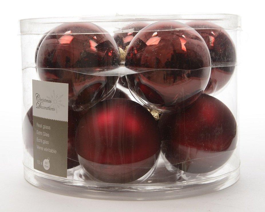 kaemingk weihnachtskugel 6cm glas glanz matt 10 st ck dunkelrot kaufen. Black Bedroom Furniture Sets. Home Design Ideas